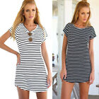 Women Casual Dress Crew Neck Short Sleeve Striped Loose T-Shirt Mini Dress LAUS