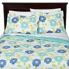 nEw AQUA FLORAL BEDDING SET - Blue Flowers Bed Comforter Sheets Shams Bed-in-Bag