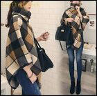 On Sale Womens Elegant Plaid Cotton Blend cappa Tippet Irregular High Collar New