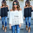 Sexy Womens Off Shoulder Lace Strapless T-Shirt Summer Casual Loose Tops TXCL