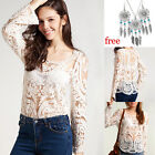 Sexy Women Semi Sheer Embroidery Floral Lace Crochet  T-Shirt Tops Blouse + GIFT