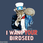 T-shirt Vote Squirrel Birdseed Uncle Sam Cotton S M L XL XXL NWT Blue Humor