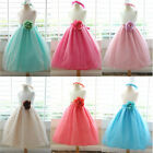 87sweetgirl Lovely Ivory coral fuchsia turquoise mint flower girl party dress