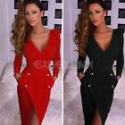 Sexy Women Casual Long Sleeve Party Evening Cocktail Slim Bodycon Mini Dress NEW