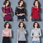 Elegant Women Lace Flowers Blouse Tops Office Lady Long Sleeve Tee Shirts