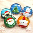 4pcs 25mm Glass Button Pinback Pins Brooch Christmas Tree Santa Claus Snowman