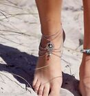 1PC New Womens Fashion Jewelry Hollow Anklet With Turquoise 22.5cm M13347