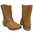 Womens Motorcycle Ankle Combat Boots w/ Stud Spikes Tan Size 5.5-10