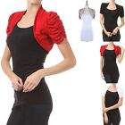Shirred Short Sleeve Bolero Shrug Open Front Cropped Cute Comfortable S M L