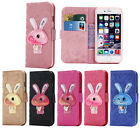 PU Leather Rabbit Quicksand Case Stand Cover for Apple iPhone 5 S SE 6 6S Plus