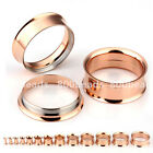 Pair Gauges Rose Gold Steel Screwed Ear Tunnels Flesh Plug Piercing Expander Kit