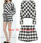 New Retro Plaid Print O-Neck Pullover Long sleeve Shirts Blouse Tops Short Pants