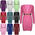 Womens Ladies Gold Plate Buckle Low V Neck Long Sleeves Mini Bodycon Party Dress