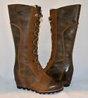 SOREL Cate the Great Wedge Waterproof Leather Tall Boots Dark Brown New 7.5 - 9