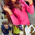 Hot Womens Sexy Button V-Neck Long Sleeve T-Shirt Spring Summer Tops Blouse New