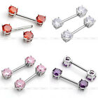 2x 14G Surgical Steel Nipple Ring 6/7mm CZ Crystal Gem Bar Barbell Body Piercing