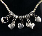 10x Mixed Hearts Charm Beads Fit European Bracelet