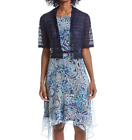 R&M RICHARDS® 10, 14 Blue Chiffon Dress & Lace Shrug Jacket *NWT*