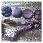 Mother of Pearl Shell Beads Chip Coin Teardrop Square Nugget Purple Spacer MOP