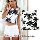 tp186 Celebrity Fashion Lookbook Cut-Out Palm Tree Print Summer Crop Tank Top
