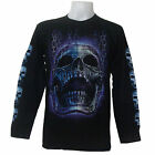 BLUE KILLER  SKULL CHAIN GRIM REAPER BIKER PUNK PRISON CHOOPER L/S T-SHIRT