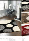 ORIGINS SHAGGY POLYPROP PLUTO RUG SPOT DESIGN IN RED,BROWN OR BLACK NEW 4 SIZES