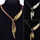 Vintage Bronze Rope Chain Feather Pendant Choker Chunky Statement NecklaceLAC