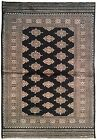 4x6 Medallion Wool & Silk Jaldar Traditional Handmade Allover  Black Rug