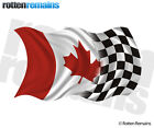 Canada Racing Checkered Flag Decal Canadian Race Car Vinyl Sticker (RH) TCS