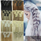 Full Head Hair Extensions Curly Straight Clip in Hair Extension Multi-Color sn78
