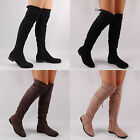 Womens Over The Knee High Boot Flat Casual Round Toe Faux Suede Ladies Shoe Size