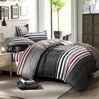 4pcs 100% Cotton Quilt Duvet Cover Sheet Classic Stripes Red Black White Gray