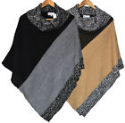 Ladies New High Funnel Neck Poncho Womens Knitted Cape