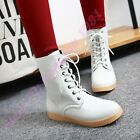 New Womens Riding Lace Up Ankle Boots Punk Motocycle Military Fashion Round Toe