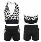Women Ladies Halter Neck Aztec Crop Top Shorts Set Mini Sexy Playsuit Monochrome