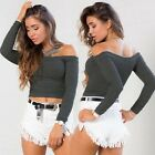 New Women's Strapless Off Shoulder Long Sleeve Crop Tops Blouse Stretchy Shirt