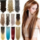 100% Real natural human Synthetic Hair Extensions 18Clips in Wavy Straight Q72