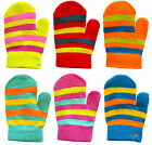 Baby Toddler Mittens Gloves Stripe Design Boys & Girls Colours Winter One Size