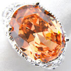 Huge Gorgeous Oval Cut Honey Brazil Citrine Gemstone Silver Ring US Size 7 8 9