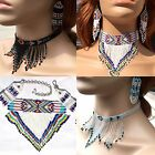 Native Style Handmade Beaded Choker Statement Necklace Earrings Set