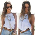 Sexy Women Crop Tops Casual Blouse Vest T-Shirt Sleeveless Lace Hollow Out Beach