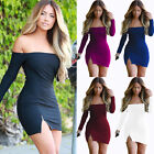 2016 Women One Off Shoulder Long Sleeve Dress Bandage Sexy Strapless Dress Top