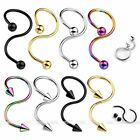 16G Twist S Industrial Ear Helix Cartilage Navel Belly Button Ring Stud Piercing