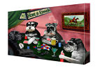 Schnauzers Dogs Poker Art Wrapped Canvas Wall Hanging Décor NWT