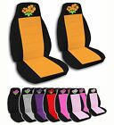 2 Front Hibiscus Flower Velvet Seat Covers with 12 Color Options