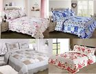 New Quilted Comforter Bedspread Patchwork Single Double King Shams Vintage