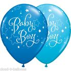 "Qualatex Baby Boy Stars 11"" Dark Blue & Mid Blue New Baby Balloons Helium or Air"
