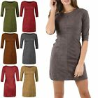 New Womens Suede Swing Ladies Flared Franki 3/4 Sleeve Mini Skater Mini Dress