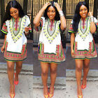 Women African Dashiki Shirt Kaftan Boho Hippe Gypsy Tops Short/Mini Dress Blouse