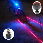 Laser 5 LED Cycling Bike Bicycle Tail Light Beam Safety Warning Red/Blue Lamp
